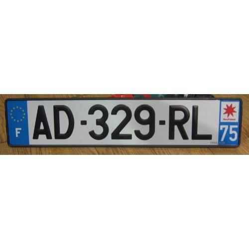 Plaque immatriculation auto Aluminium