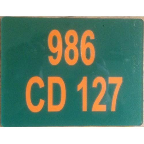 Plaque Moto PVC Vert Orange